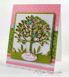 Memory Box Arboscello Tree with Fiskars flower punch. This is so Jan 2012 KittyKraft Z Cards, Kids Cards, Thankful Tree, Diy And Crafts, Paper Crafts, Memory Box Dies, Card Sayings, Die Cut Cards, Scrapbook Cards
