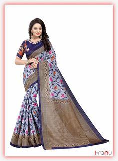 Swati navy bhagalpuri partywear floral saree Art Silk Sarees, Sari, India, Floral, Casual, How To Wear, Shopping, Women, Fashion