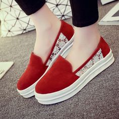 39429d672b2442 Cotton Lace Breathable Flat Slip On Loafers Loafers Online