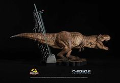 This exclusive and highly detailed scale statue features the female T-Rex as she roars in triumph after setting herself free from her pen as seen in the classic film Jurassic Park. T Rex Jurassic Park, Jurassic Park Series, Jurassic World Dinosaurs, Jurassic Park World, Indominus Rex, Tyrannosaurus, Amblin Entertainment, Jurassic World Fallen Kingdom, Beautiful Film