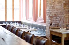 The Harbord Room is known for their burgers, made using Ontario beef, and imaginative desserts, like orange ricotta doughnuts. Modest pricing and fun atmosphere. 89 Harbord Street.