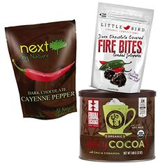 Traditional Dark Chocolate Candy and Cocoa Valentines Day SPICY Hot Pepper Gift Basket Bundle, ,