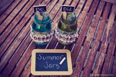 "TOTALLY BRILLIANT!! Summer jars: write goals/activities on decorated popsicle sticks in ""do"" jar, then put into ""did"" jar after it's done. Such a great idea!!"
