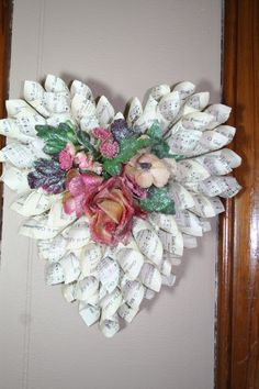 Items similar to Vintage Hymnal Paper Cone Fairy Rose Heart on EtsyA few baubles and some tinsel would make this a nice Xmas decoration Valentine Wreath, Valentine Crafts, Christmas Crafts, Valentines, Old Book Crafts, Book Page Crafts, Doilies Crafts, Paper Doilies, Wreath Crafts