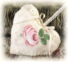 Linen Heart DOOR HANGER,  LINEN with Flower, Primitive Handmade CharlotteStyle Decorative Folk Art