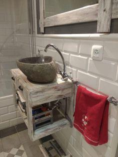 mueble de lavabo con palets Ikea, Kitchen Cart, Cleaning, Bathroom Stuff, Glamping, Ideas Para, Home Decor, Google, House
