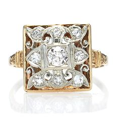 New York, NY Jewelry, engagement rings - Leigh Jay Nacht - Art Deco diamond ring. - R364