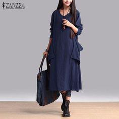 ZANZEA WOmen 2017 Summer Autumn Vintage Fashion Cotton Dress Long Casual Loose Solid Long Sleeve V Neck Dress Vestidos Plus Size