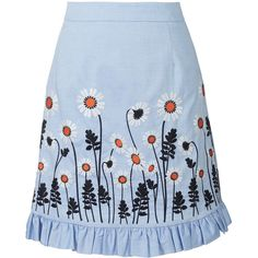 Cotton Embroidery Skirt ❤ liked on Polyvore featuring skirts, blue ruffle skirt, blue cotton skirt, ruffle skirt, blue skirt and frilly skirt