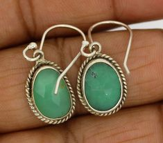 Chrysoprase natural gemstone earrings solid 925 Sterling Silver Jewelry  3.1 gm #Unbranded #beautiful