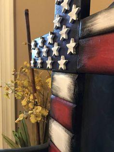 Wooden Flag,Wooden American flag cross, reclaimed wood cross, American flag cros… – Keep up with the times. Wooden Crosses, Wall Crosses, Wooden Art, Wooden Gifts, Pallet Crafts, Wood Crafts, Diy And Crafts, Cross Art, Cross Flag