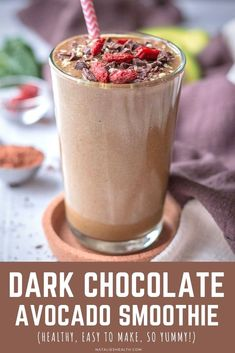 This Dark Chocolate Avocado Smoothie is incredibly creamy and delicious, packed with flavor. It's filling and super EASY to make. Perfect BREAKFAST that will satisfy your chocolate cravings. + It's made without added sugar. ------- #sugarfree #avocado #darkchocolate #chocolate #easy #healthy #smoothie #healthysmoothie #breakfast #weightloss #smoothieforweightloss #kidsfriendly Chocolate Avocado Smoothie, Berry Smoothie Recipe, Detox Smoothie Recipes, Healthy Breakfast Smoothies, Good Smoothies, Fitness Smoothies, Nutritious Smoothies, Breakfast Recipes, Perfect Breakfast