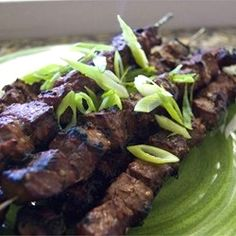 "Beef Yakitori | ""This marinade is delicious with beef, but is great with pork or chicken too. You will need to adjust the cooking time depending upon the meat or poultry you use for the skewers."""