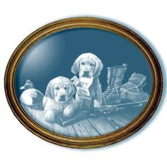 Golden Memories Golden Retriever Puppy Art Large Oval Mirror