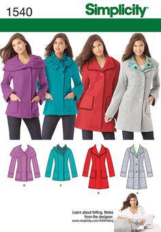 Simplicity Pattern 1540H5 6-8-10-12--Misses Jackets Coats
