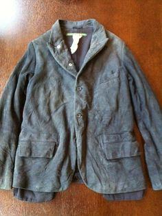 SOLD: Paul Harnden Blue Chamois Leather Pocket Blazer: Sz Small | Import Workwear