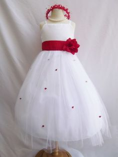 Flower Girl Dress WHITE/Red Cherry RB3 Wedding Children Easter Bridesmaid Communion Yellow Turquoise White Silver Red Ch