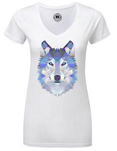 Fantasy T-Shirt with abstract animal print polygon wolf #handmade #fashion #Etsy