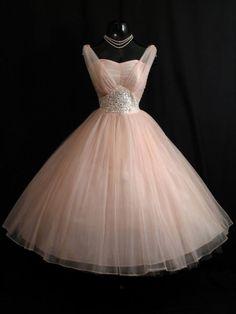 1950s short peach dress party dress kinda fancy