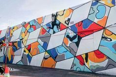 Cube Mural Inspired by Street Artist Thank YouX – Art is Basic Group Art Projects, Middle School Art Projects, Canvas Art Projects, Classroom Art Projects, Art Classroom, Class Projects, School Projects, School Ideas, Classroom Ideas