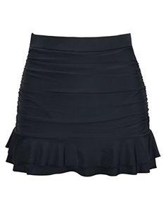 cc61fb9eaba Hilor Women s Skirted Bikini Bottom High Waisted Shirred Swim Bottom Ruffle  Swim Skirt