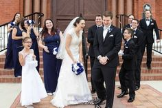 Wedding Party Potrait. Bride's Maids, Groom's Men. Real Bride Wedding Dress from the David's Bridal Collection. Catholic Wedding at St. Patrick's Catholic Church in Denison, TX. Wedding Photography by LightRing Productions - lightringpro.com