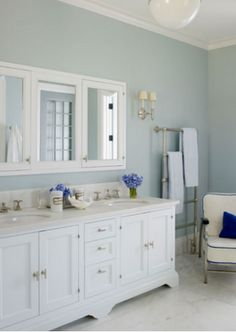 Love this wall color for the bathroom