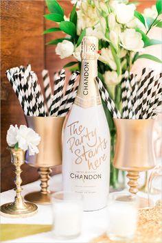 customized champagne bottle @weddingchicks #black #white #gold