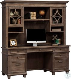 Martin Furniture Credenza and Hutch, Weathered Dove Office Desk With Hutch, Corner Desk With Hutch, Home Office Shelves, Computer Desk With Hutch, Desk Hutch, Home Office Decor, Executive Office Furniture, Boys Desk, Martin Furniture