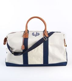 Loving recycled sailcloth items this summer...especially this monogrammed duffle from J. McLaughlin!