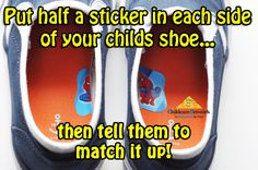 A great use for stickers in every shoe! Parent Hacks and Parent tips with Childcare Network The Working Parents Best Friend! Check out our Parents Blog for more awesome ideas for your family!