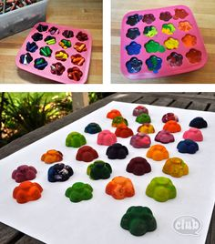 Melt old crayons into fun new shapes and mix colors to make cool new crayons. Perfect for nature rubbings with kids.
