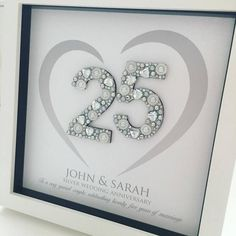25 Wedding Anniversary Gifts, Homemade Anniversary Gifts, Marriage Anniversary, Anniversary Ideas, Anniversary Frames, Anniversary Surprise, Personalized Wedding Gifts, Shadow Frame, Family Names