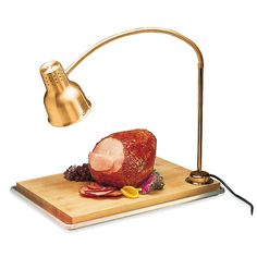 "Carlisle HL8185GB21 FlexiGlow 24"" Single Arm Aluminum Heat Lamp with Gold Finish, Maple Cutting Board, and Drip Pan - 120V"