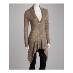 Brown Gray Sidetail Cardigan   Daily deals for moms, babies and kids via Polyvore