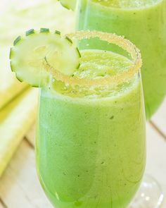 Mint Melon and Cucumber Smoothie - The popular combination of cucumber and melon is paired with Marrakesh Mint Tea for a cool and refreshing smoothie. Drink this healthy beverage to help consume extra servings of fruit and vegetables or simply to enjoy a sweet, hydrating drink.