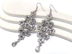 Stunning Clear Crystal Flower Cluster Chandelier Dangle Earrings