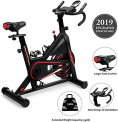 New DMASUN Exercise Bike, Indoor Cycling Bike Stationary, Comfortable Seat Cushion, Multi - Grips Handlebar, Heavy Flywheel Upgraded Version (Black) online shopping - Yournewseasonstyle Best Exercise Bike, Upright Exercise Bike, Bicycle Workout, Cycling Workout, Bike Workouts, Swimming Workouts, Swimming Tips, Indoor Cycling Bike, Cycling Bikes