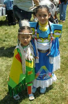 Young Native American Indian girls in full regalia at the Cleveland Powwow