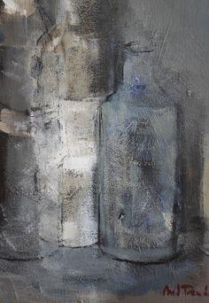 Grey bottles / Botellas grises - Oil on canvas / Óleo sobre lienzo