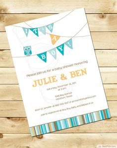 Simple Baby Boy Shower Invitation With Flags ❥❥❥ http://bestpickr.com/owl-baby-shower-invitations