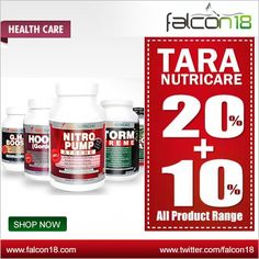 Hurry Limited Offer!! Falcon18 Get great deal on Tara Nutricare Products. Exclusive 20+10% discounts only on Falcon18.  Tara Nutricare is the first choice among elite athletes and bodybuilders.
