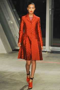 Geometric print coat at Jonathan Saunders is careful thought for a magnetic nail polish pattern