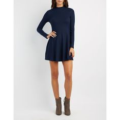Charlotte Russe Mock Neck Tie-Back Skater Dress ($20) ❤ liked on Polyvore featuring dresses, navy, navy blue long sleeve dress, long-sleeve fit and flare dresses, long sleeve skater dress, long sleeve fit and flare dress and long sleeve dress