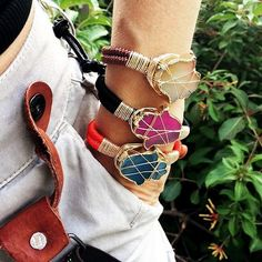 Set By Vila Veloni Multicolor Hamsa Stone Bracelets