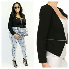 Zipped Up Zipper Fitted Crop Blazer Please Read The Comment ⬇️⬇️⬇️⬇️⬇️100% Cotton Jackets & Coats Blazers