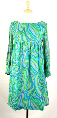 Vintage 1960s Turquoise Pucci Style Empire Waist by CoupContrecoup, $48.00