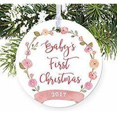 girl babys first christmas ornament 2017 pink floral wreath porcelain ceramic ornament 3