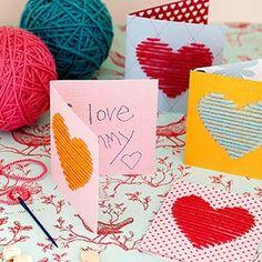 Pra Gente Miúda: Cartão feito com alinhavo para a mamãe
