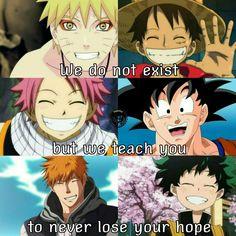 Naruto- Naruto/ Luffy- One Piece/ Natsu- Fairy Tail/ Goku- Dragon Ball/ Ichigo- Bleach/ Midoriya- Boku no Hero Academia